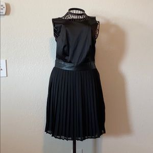 Black dress with faux leather band